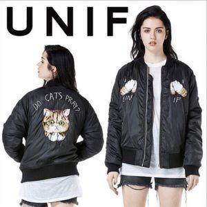 Unif RARE ASF Do Cats Pray Bomber jacket